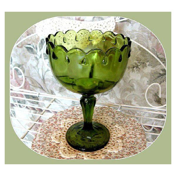 Decorative Colored Glass Bowls Vintage Green Glass Pedestal Bowl Decor Christmas Decor Glass