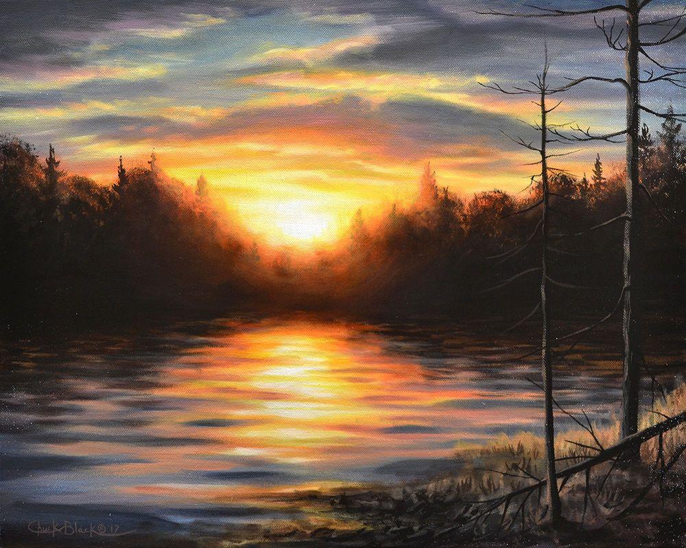 Original Art Landscape Painting Sunset Lake Canvas Signed By Chuck Black Art Artauction Ebay Painting Orig Landscape Paintings Original Art Sunset
