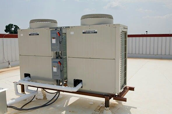 Mitsubishi City Multi heating and cooling outdoor units