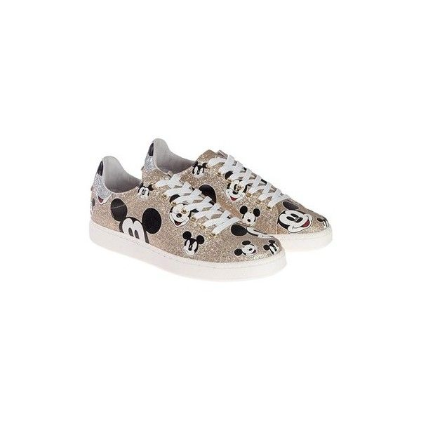 MOA MASTER OF ARTS Sneakers (Disney Collaboration) ($181) ❤ liked on Polyvore featuring shoes, sneakers, gold, glitter trainers, white glitter shoes, patterned shoes, red black and white sneakers and white sneakers