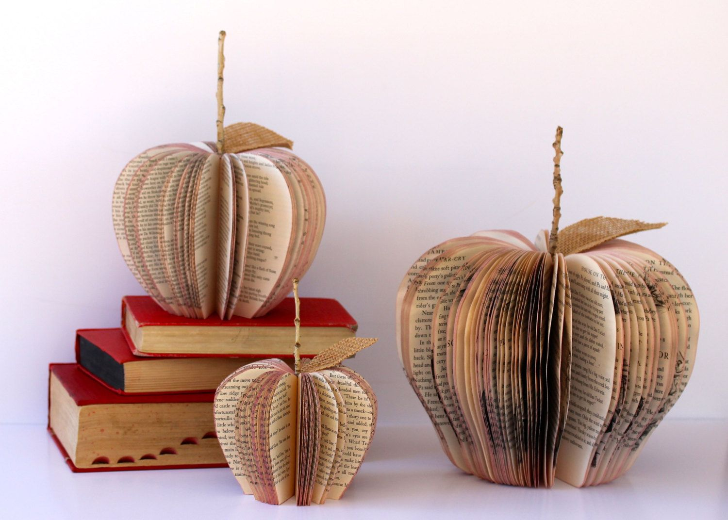 Set of 3 VINTAGE BOOK APPLES /// made to order /// size small medium and large. $51.00, via Etsy.