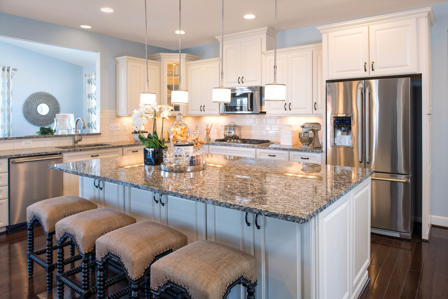 Sutton Model Home #white #yellow #kitchen #island   Home ... on Model Kitchen Design Images  id=66288