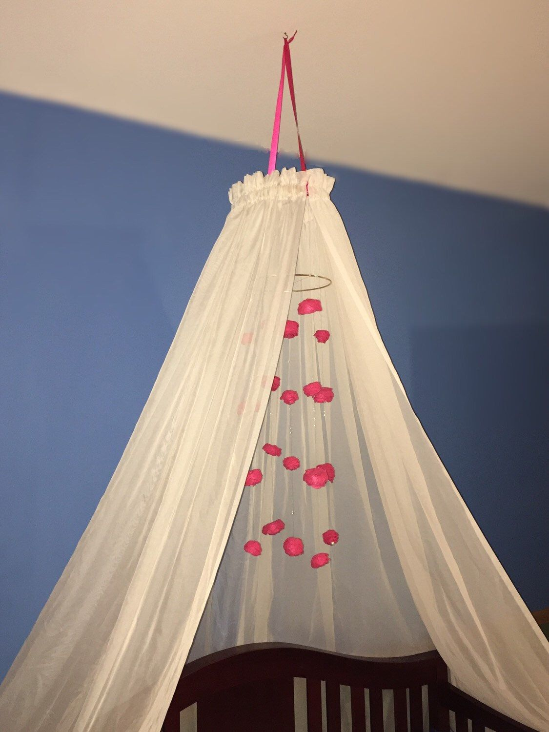 Baby Crib Canopy Cascading Rose Mobile Girl Twin Bed Nursery Decor