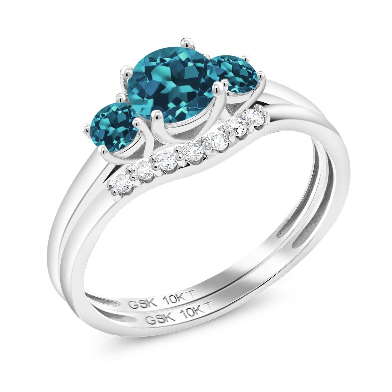 0 83 Ct Round London Blue Topaz 10k White Gold Lab Grown Diamond 3 Stone Bridal Engagement Wedding Ring Set Bridal Ring Sets Diamond Bridal Sets Grown Diamond