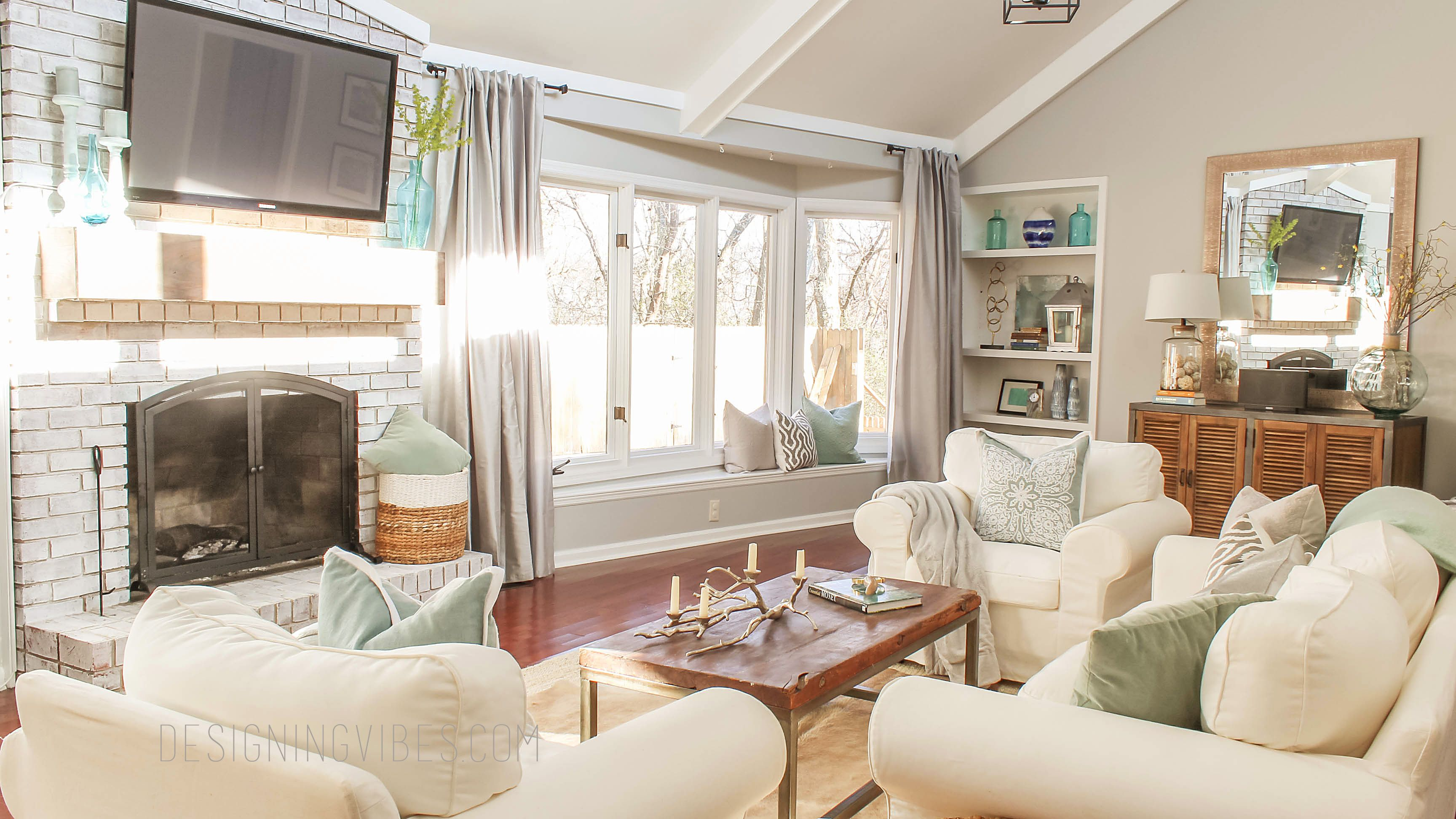 Light, Bright, & Airy Living Room Tour {Designing Vibes | Room tour ...