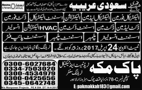 new job in Pak Makkah Trade Test And Training Center | Jobs