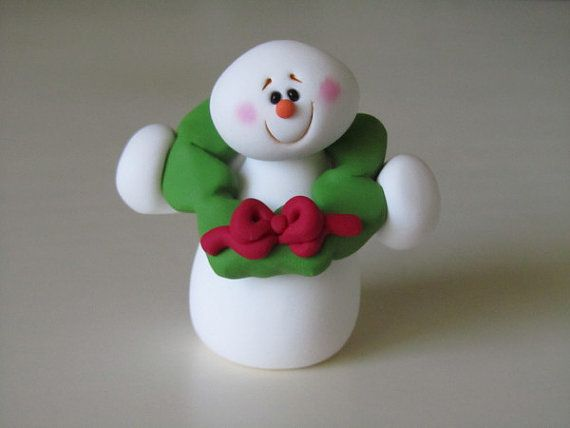 Polymer Clay Snowman Figure via Etsy