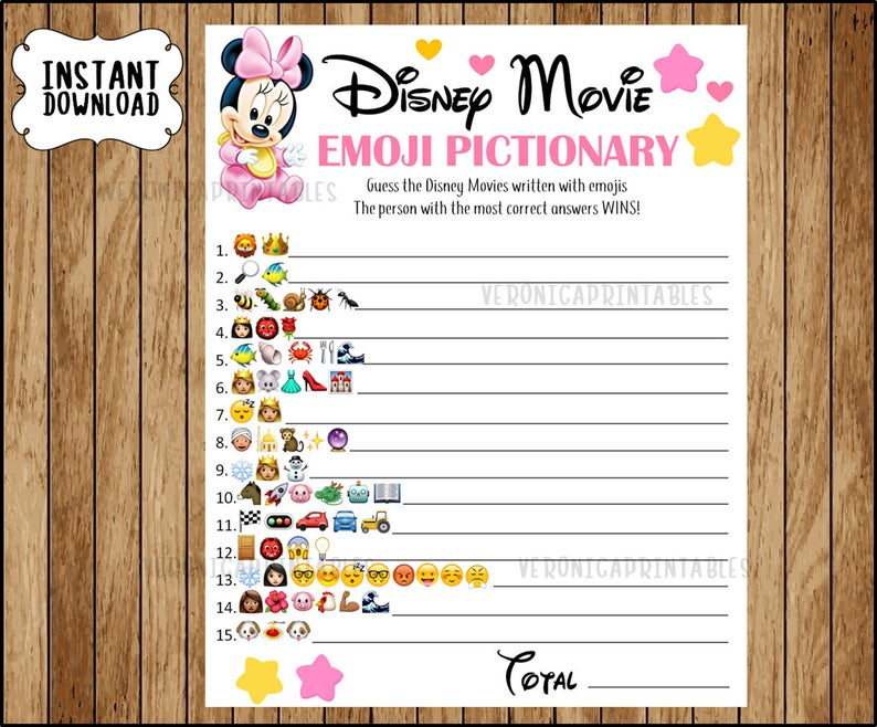 Disney Movie EMOJI Pictionary Baby Shower Game, Minnie Baby theme, ANSWERS included, Instant Downloa