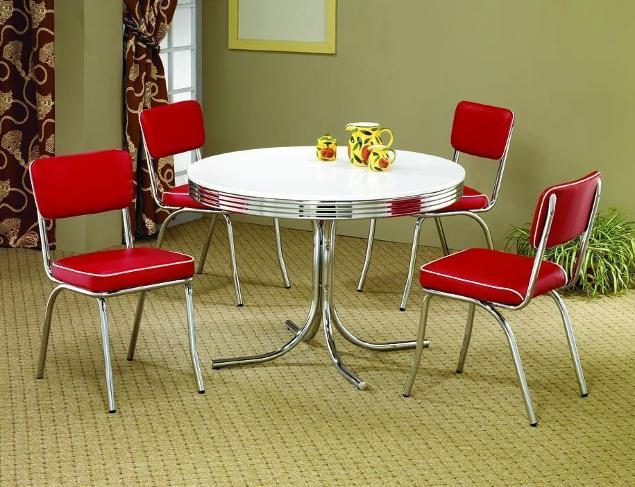 5 Piece Dining Set Round Chrome Kitchen White Table 4 Red Chairs Retro 50s Style