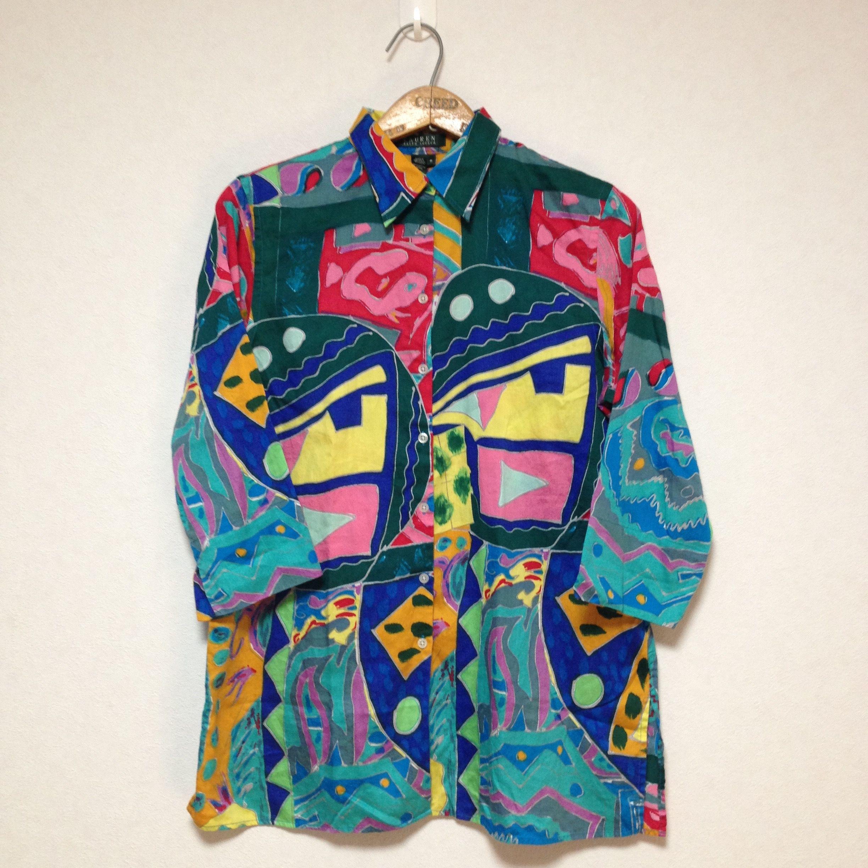Lauren 7/10 Sleeve Art Design Shirt Size M