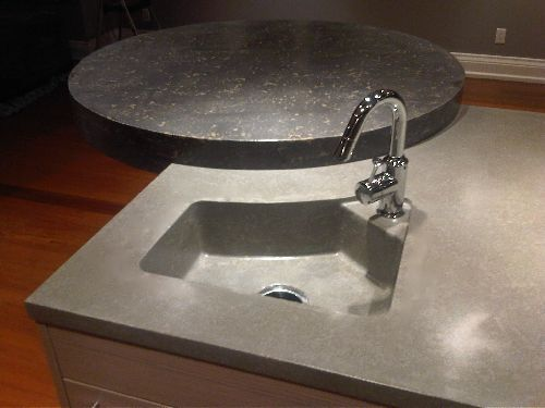concrete countertop bar area