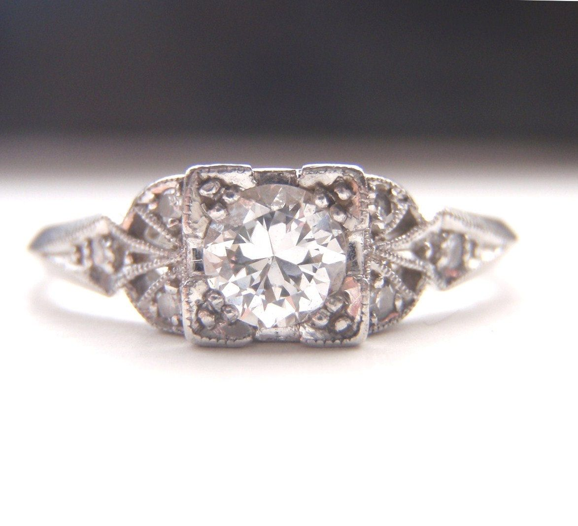 History Platinum: Edwardian / Art Deco Engagement Ring. Quality Platinum And