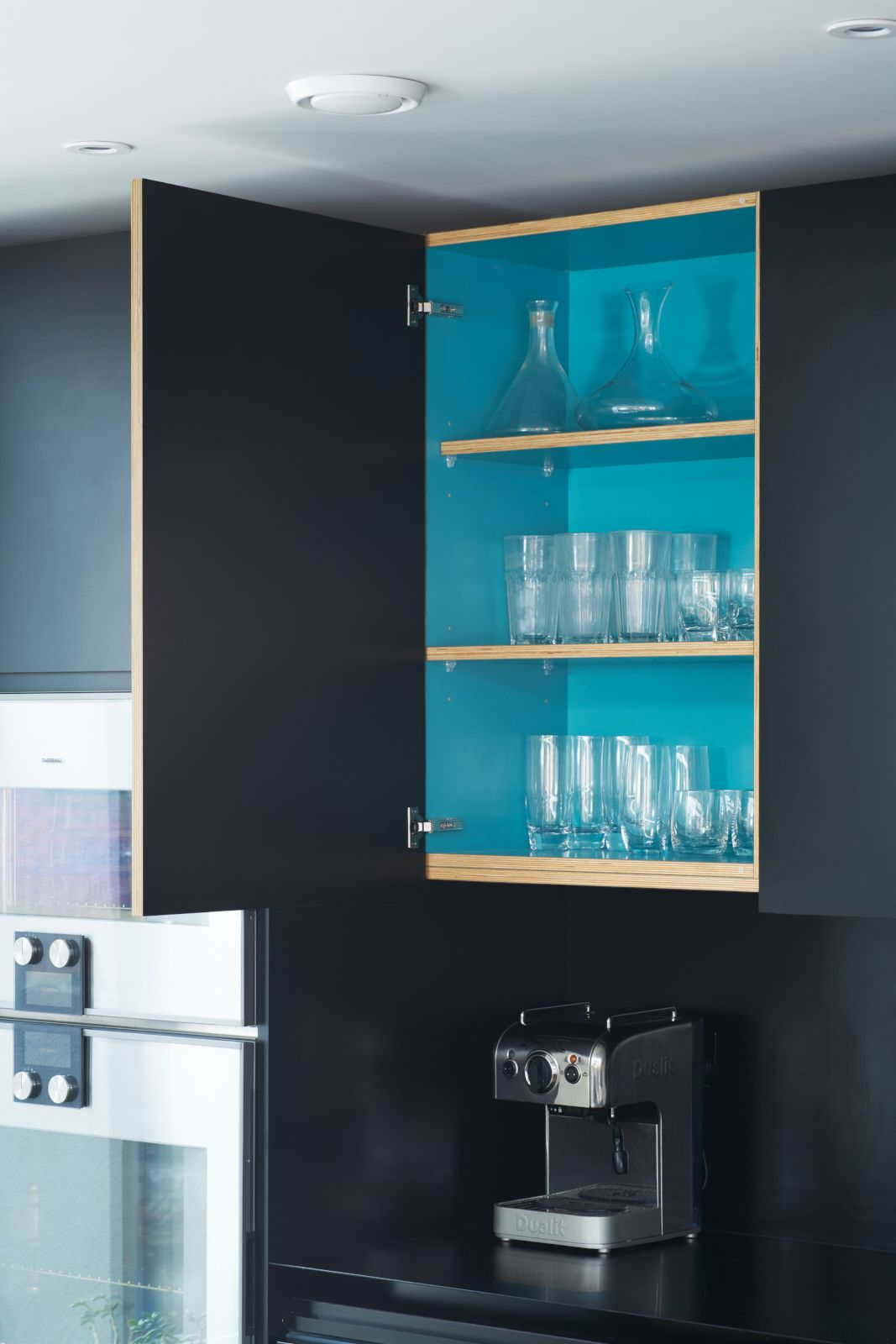 kitchen furniture –diamond black matt formica doors and blue ...
