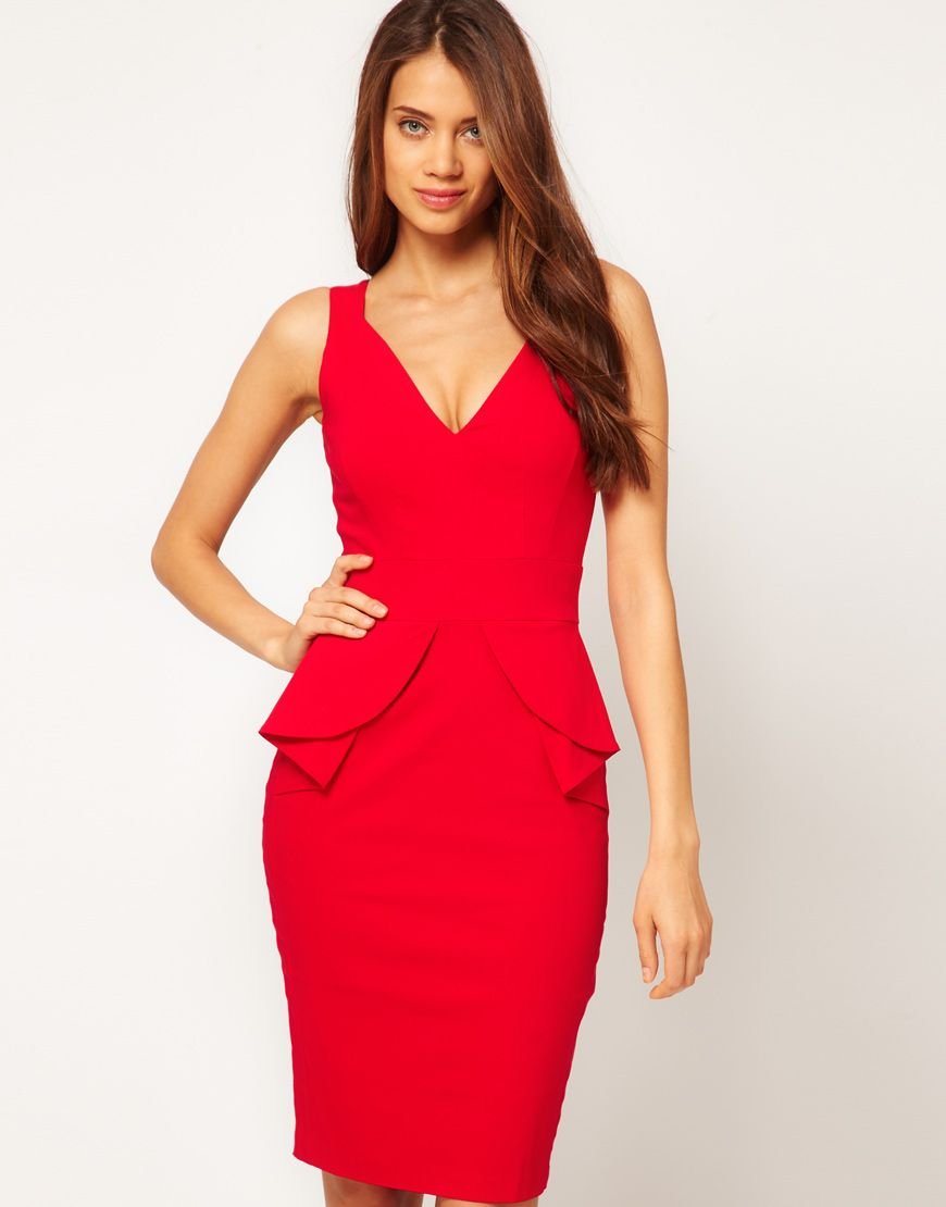 Red Peplum dress with plunge - I would modify to have a full peplum ... 306e1a773