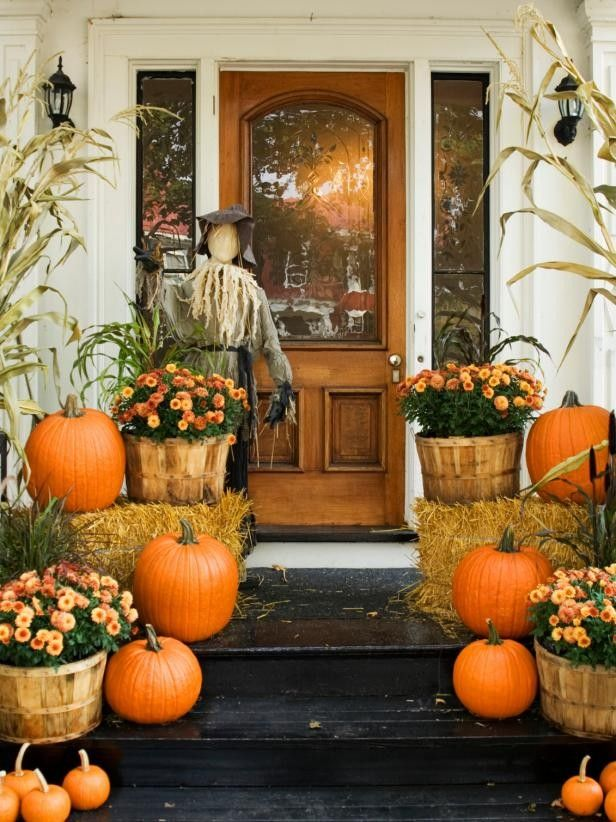 Halloween Decor Bench Mums Flowers Hay Outdoor Living Pillows Front Door Pillow Pumpkin Decorating Fall Decorations Porch Fall Entryway Fall Outdoor