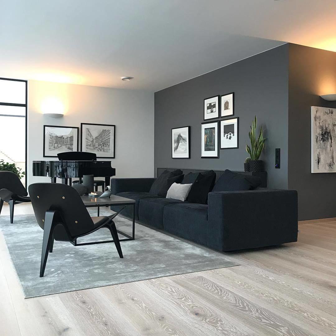 """Inspiration & Interiordesign on Instagram: """"Ein hammer Wohnzimmer liebevoll eingerichtet mit einem klaren Farbstil � Die Kombination aus grauer Wand, dunkler Couch und dem hellen…"""""""