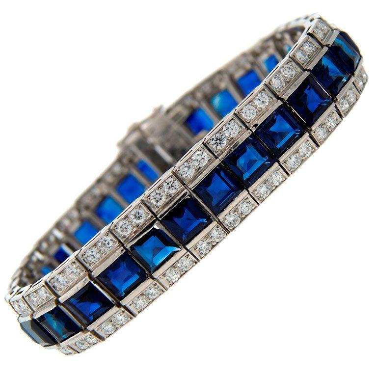 GUBELIN Sapphire, Diamond & Platinum Tennis Bracelet
