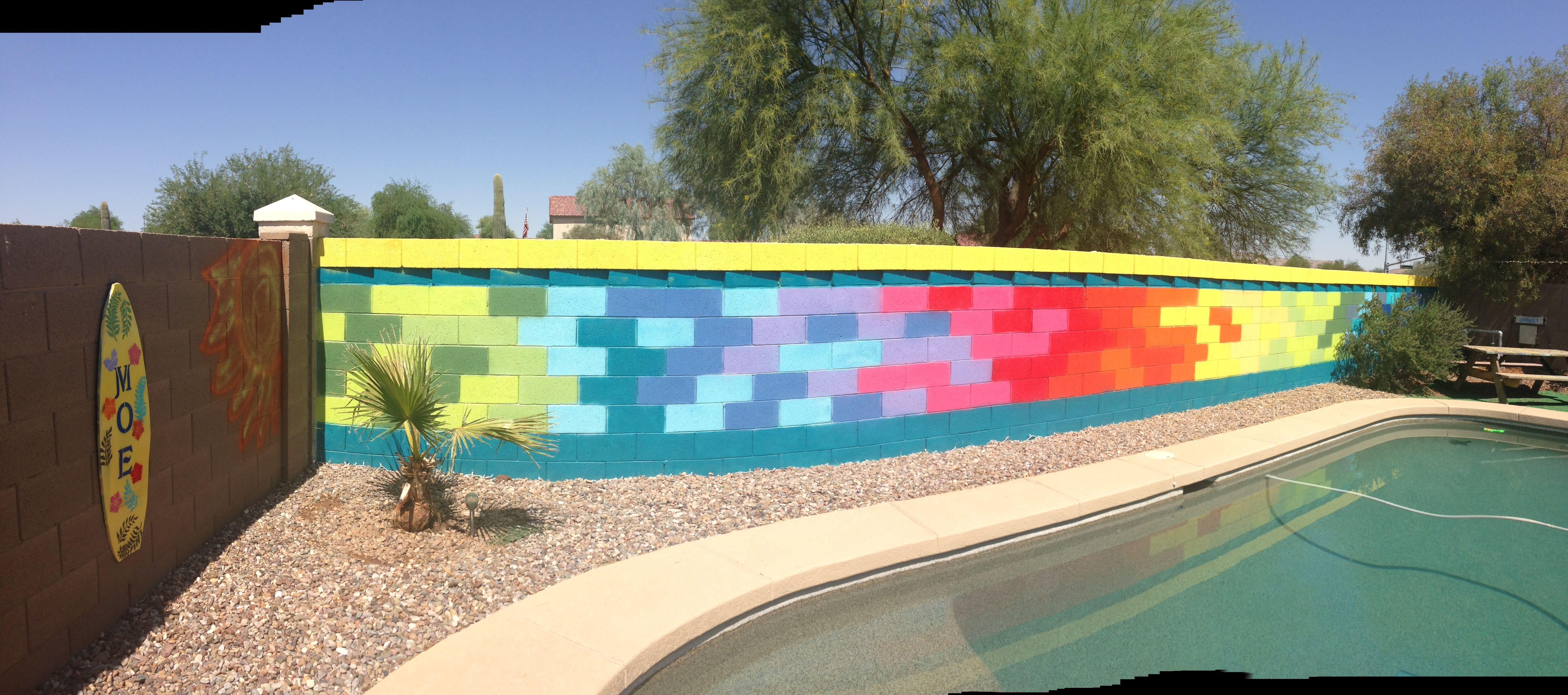 Spray Paint Brick Wall Brings Life To A Dull Brick Wall Next To