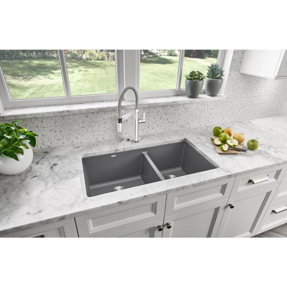 Blanco Precis Undermount Granite Composite 33 In 60 40 Double Bowl Kitchen Sink In Metallic Gray 441130 The Home Depot In 2020 Undermount Kitchen Sinks Composite Kitchen Sinks Blanco Kitchen Sinks