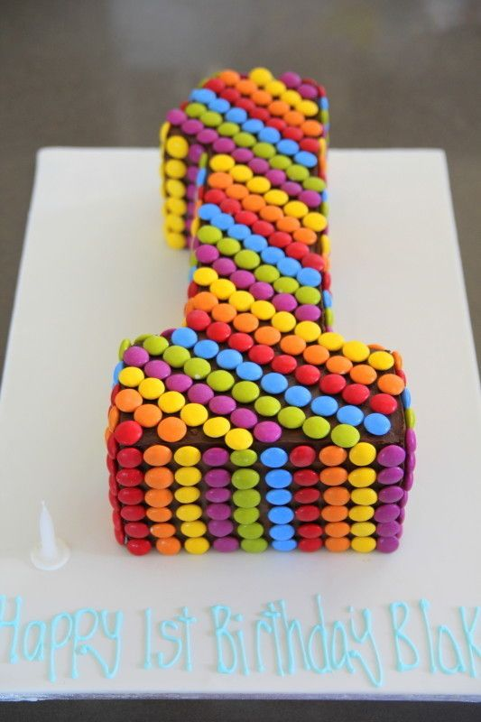 Smartie Rainbow Cake For First Birthday
