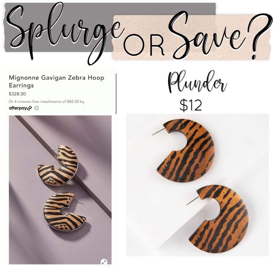 Y'all know I love a good deal! Check out the savings and they are so similar!!! Would you splurge or save??? #fashiondupe #fashion #style #earrings #statementjewelry #statementearrings #plunderdesign #plunderstyle #plunderdesignjewelry #earcandy #stockingstuffers