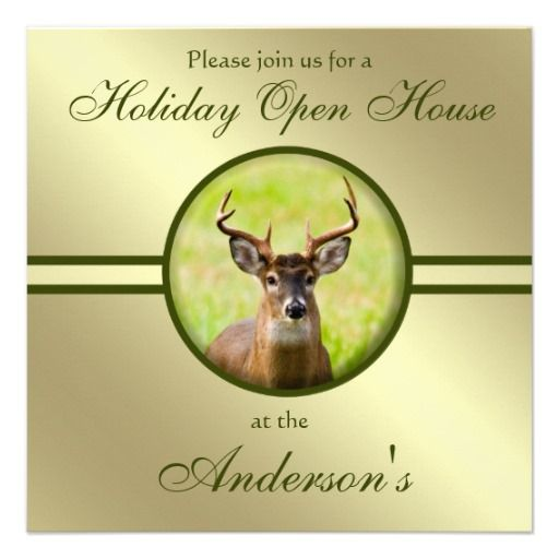 Whitetail Buck Gold Green Hunter Christmas Party Invitation