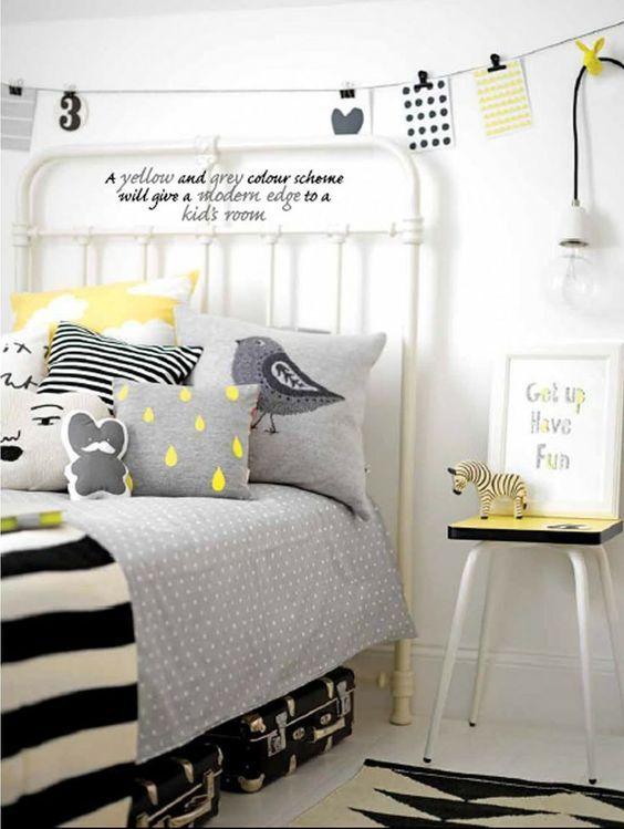 Oublions les cliché des couleurs pastels et optez pour le noir blanc gris et jaune pour