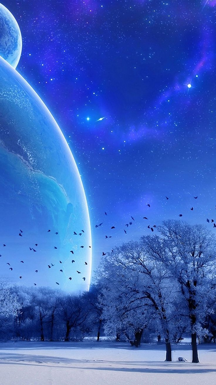 Iphone Wallpaper Fantasy Winter Skyscape Space View