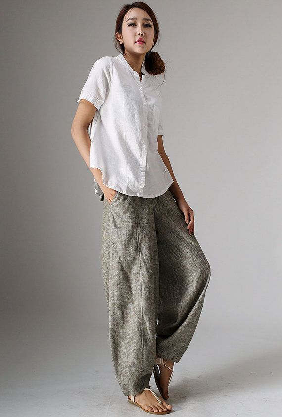 Linen slacks, Linen Pants, linen baggy pants, linen pants ...