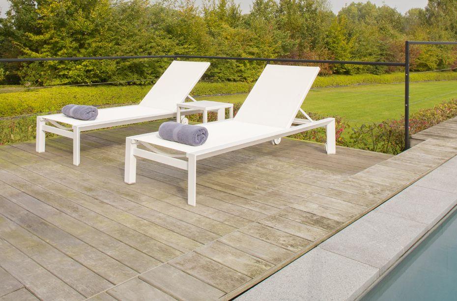 Ligstoel Tuin Aluminium : Aluminium ligbed lounge textilene garden garden