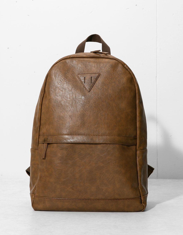 Bershka Bulgaria  - Brown imitation leather backpack