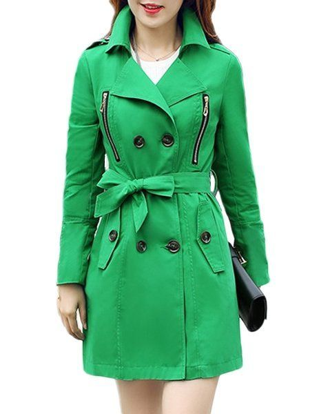 Plain Bowknot Breasted Zips Hot Sale Lapel Trench-coats Only $37.95 USD More info...