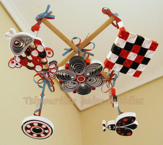 Newborn Visual Stimulation Mobile Black White Red Patterns Etsy Hand Crafted Gifts Red Pattern Baby Mobile