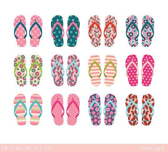 Pink flip flop clipart, Summer sandal clip art, Beach ...