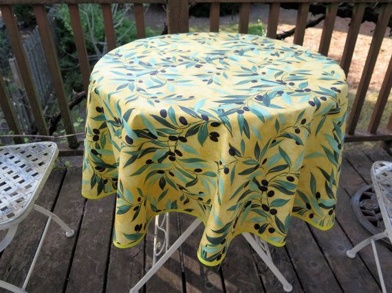 Small Or Medium 40 To 60 Inches Diameter, Bistro Oilcloth Round Cotton  Coated Tablecloth Olives Branches Up To 60u0027u0027 Diameter