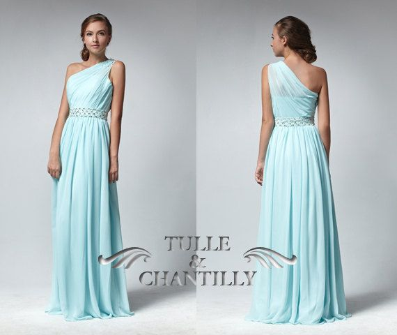 Light sky blue sheer one shoulder long prom by TulleandChantilly, $145.00