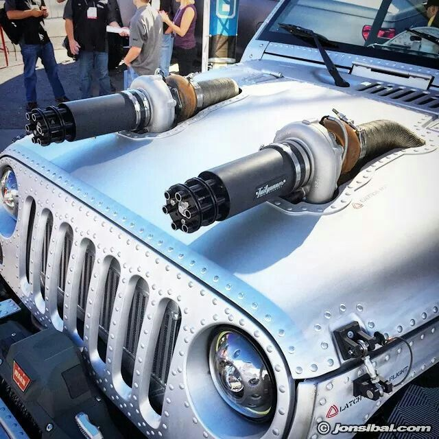 Jeep With Twin Turbo And Tailgunner Exhaust Tips As Intakes
