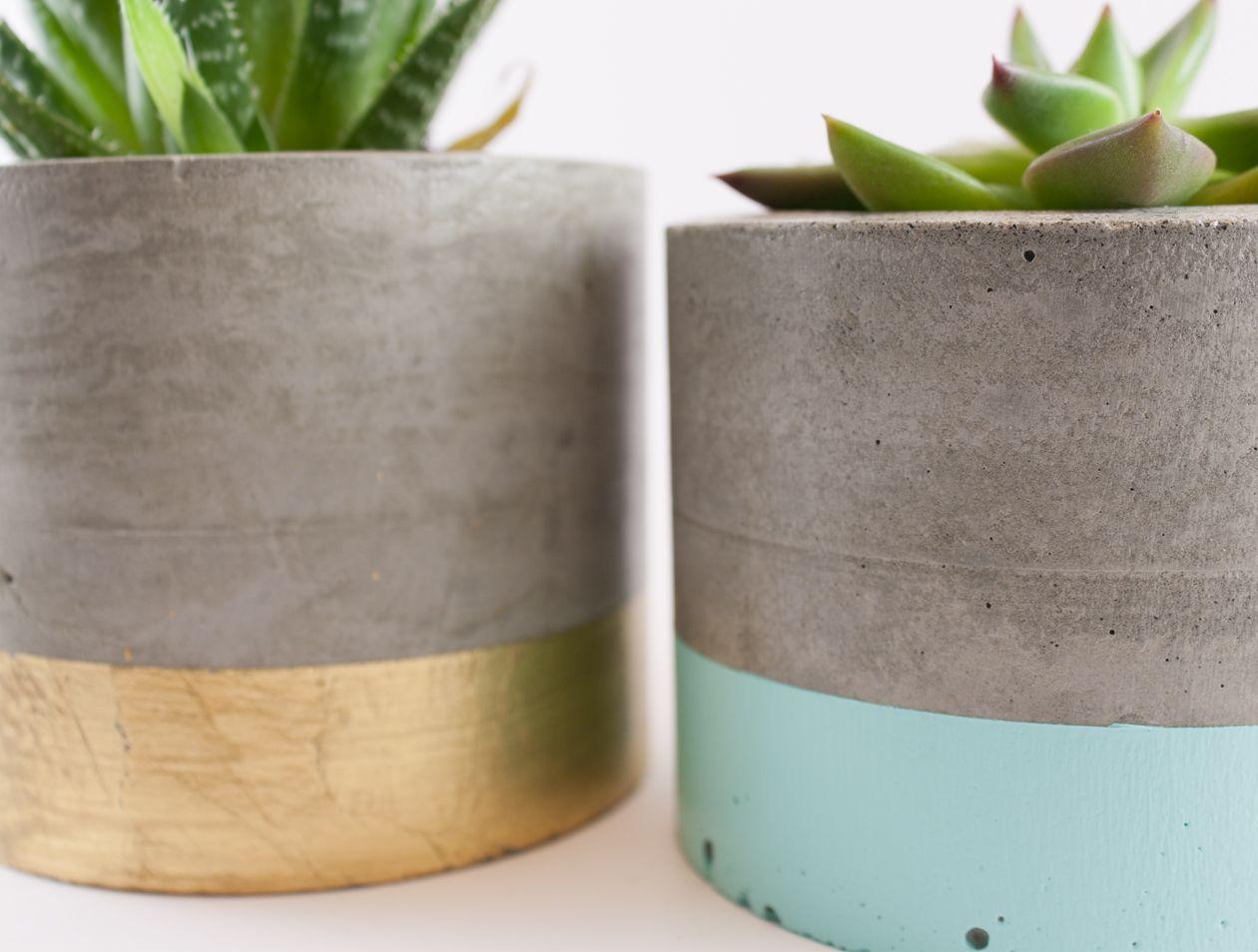 Dipped concrete planter pot - mint | Felt