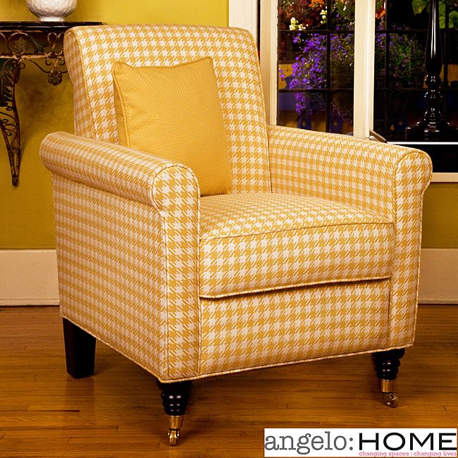 How Charming! Harlow Arm Chair Yellow And White Check