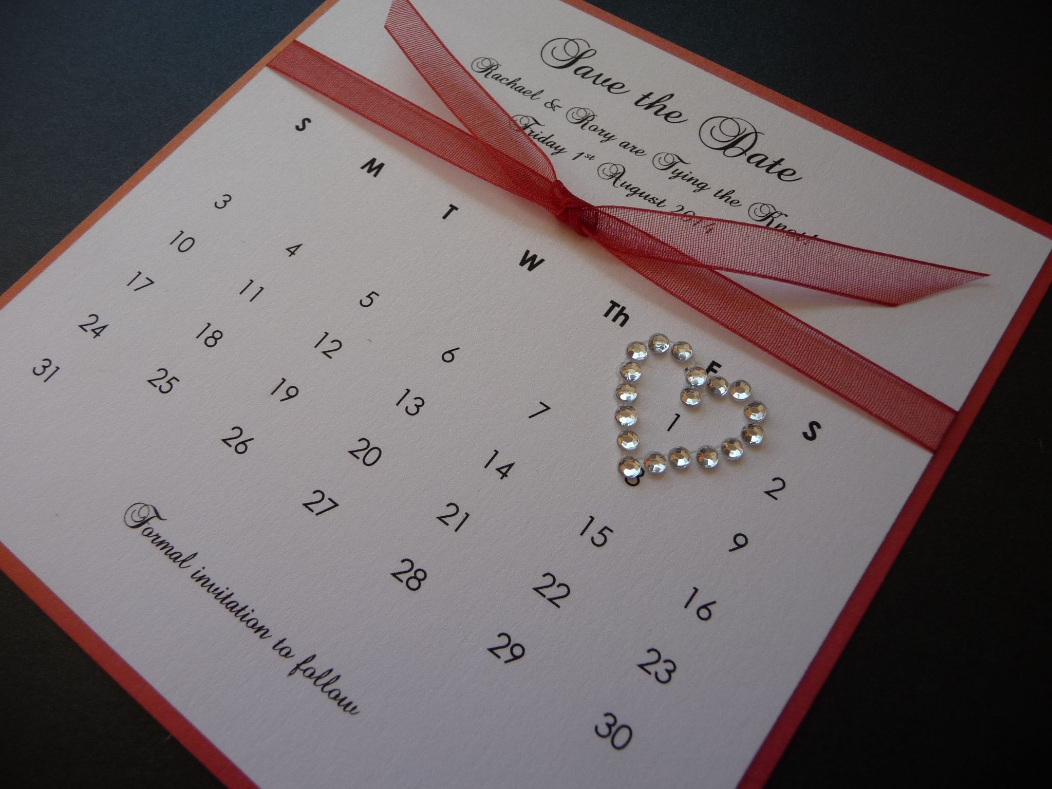 Coral Calendar style Wedding Save the Date idea Wedding