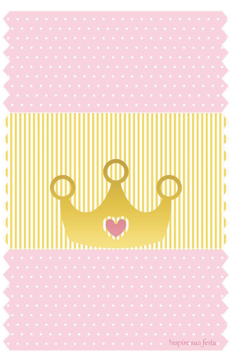Corona Dorada con Rosa: Etiquetas para Candy Bar para ...