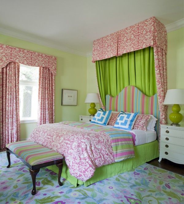 cute teen girls room ideas with green wall paint color
