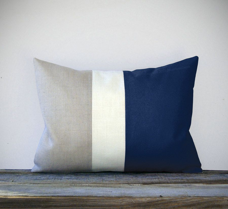 Navy Blue Color Block Decorative Pillow with Cream and Natural Linen Stripes by JillianReneDecor Spring Home Decor Striped Nautical. $55.00, via Etsy.
