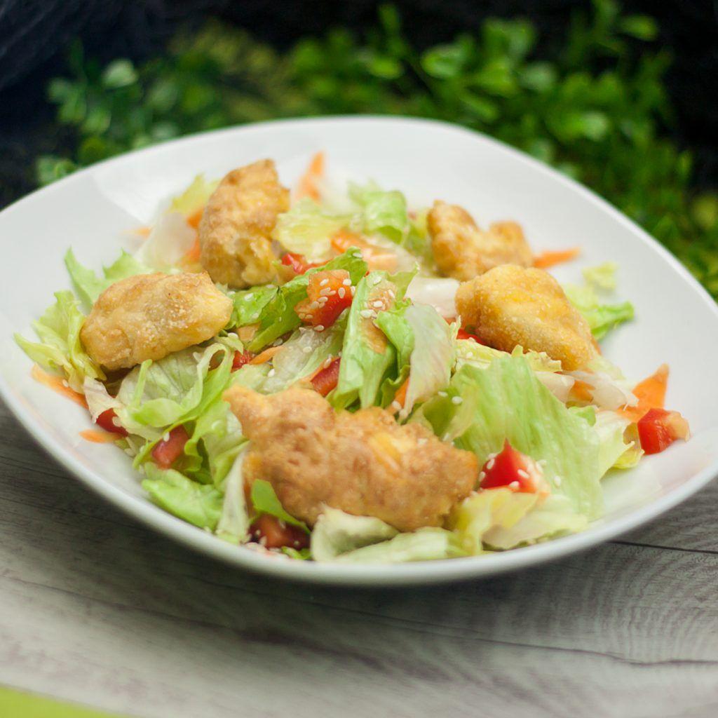 Aufgpimpter Chickenburger Salat