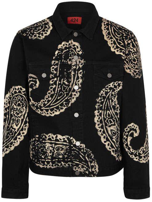 13d6b6acbe1 Fourtwofour FourTwoFour Black Paisley-print Denim Jacket