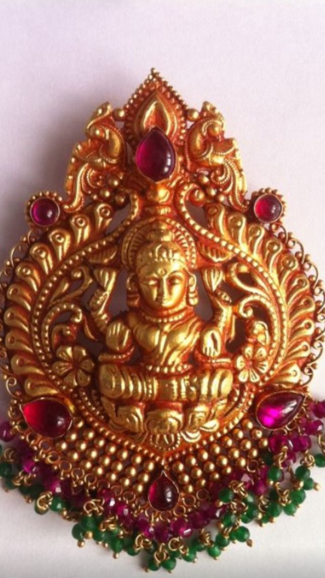 Gold Handmade Laxmi Pendant Temple Jewellery K T Arts