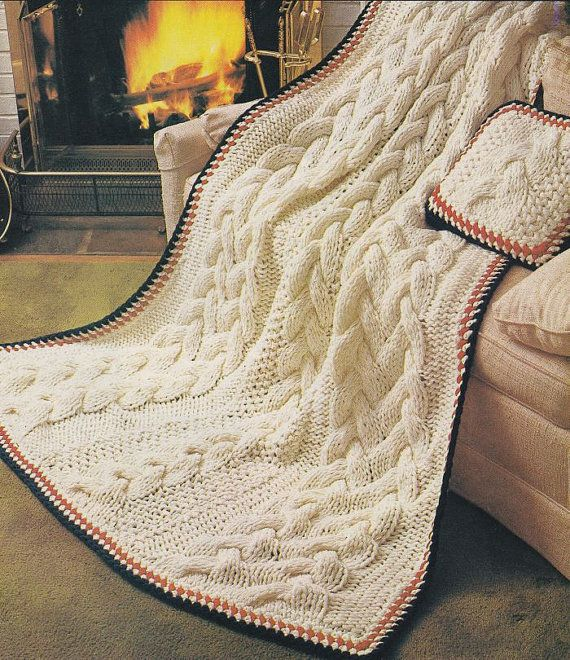 Arm Knitting Patterns Free : Aran Quick Cable Knit Afghan Knitting Pattern - Instant Download PDF - Fisher...