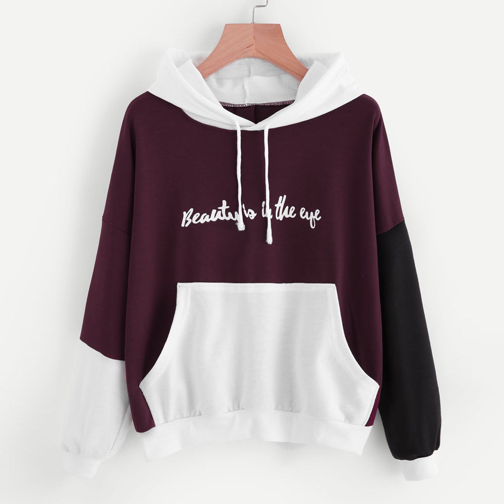 Women Long Sleeve Hoodies Sweatshirt Ladies Pullover Jumper Hooded Sweater Tops