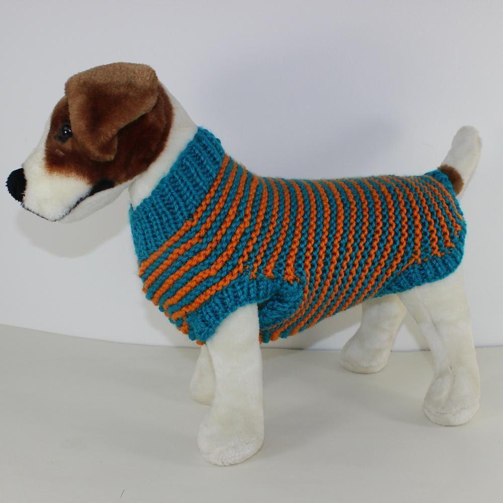Chunky Stripe Garter Stitch Dog Coat Knitting pattern by ...