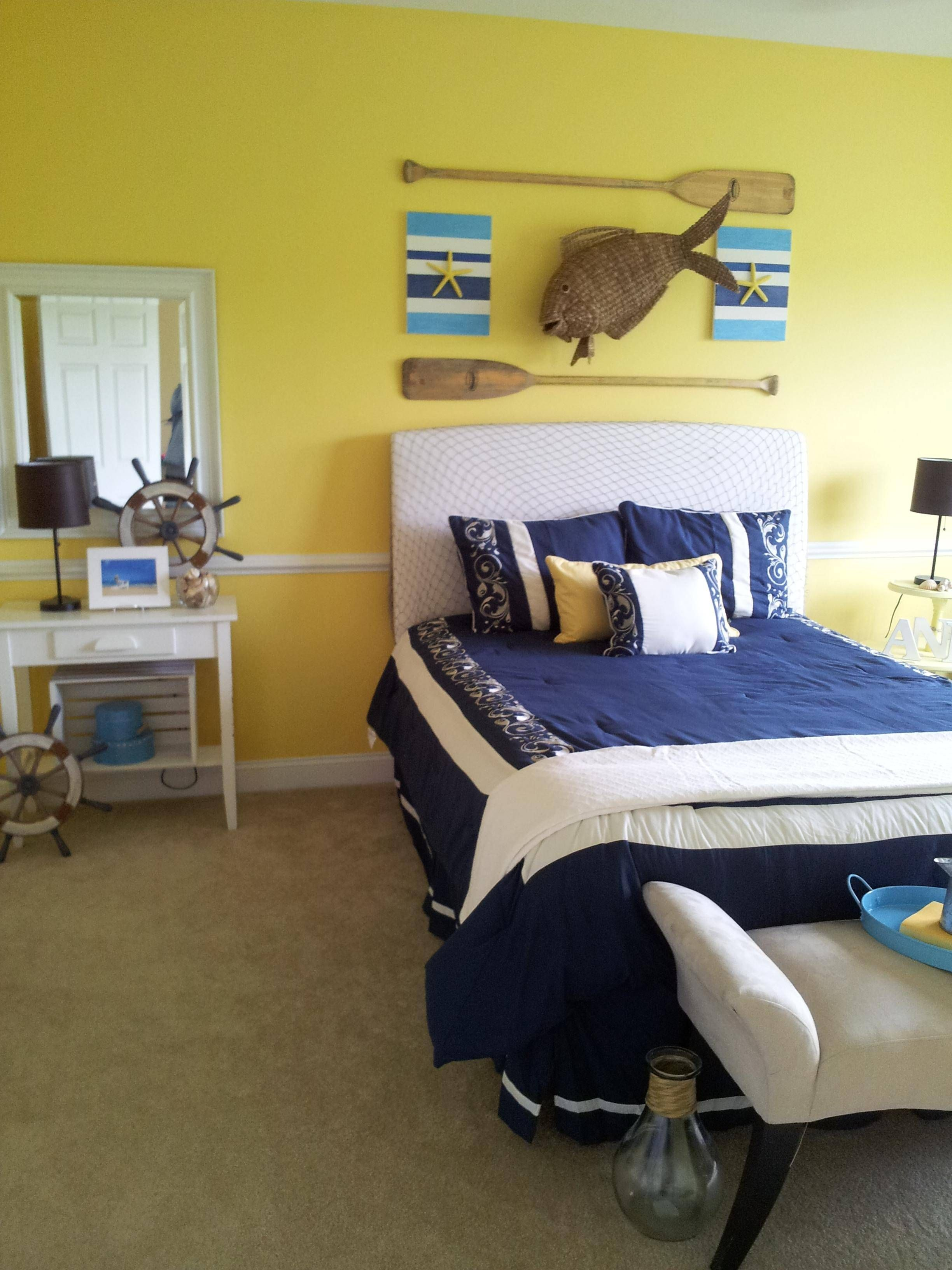redecorating bedroom%0A Redecorated daughter u    s room in a beach theme design  Used fish net for  headboard  painted